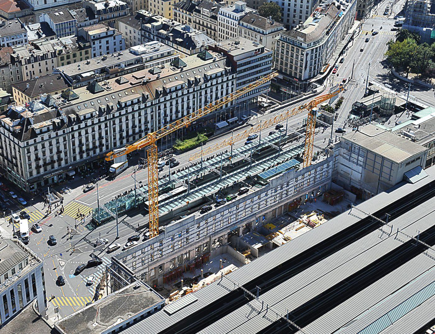 Photographie aérienne chantier de la gare de cornavin à Genève