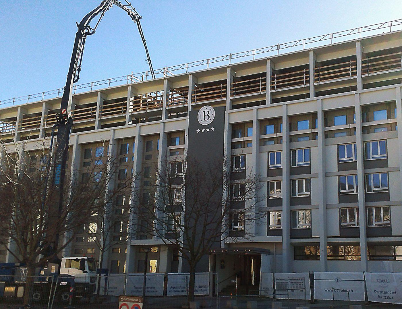 Surélévation hôtel Beaulac à Neuchâtel Bernasconi travaux